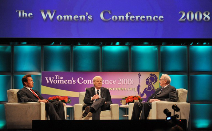 California Governor Arnold Schwarzenegger (L), billionaire investor Warren Buffett (R), Chairman and CEO of Berkshire Hathaway Inc, and TV personality Chris Matthews join a coversation during the Women's Conference. (AFP Photo / Jewel Samad)