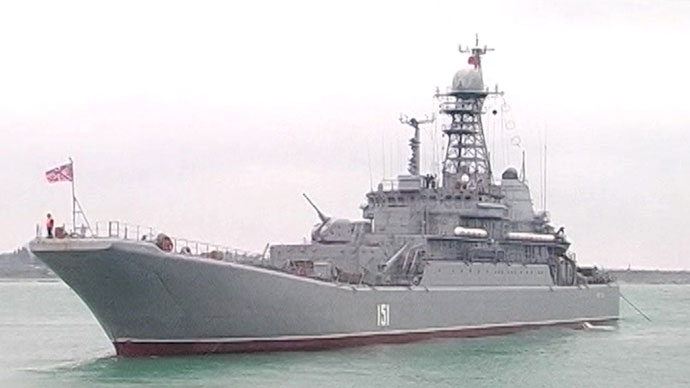 A ship of the Russian Black Sea Fleet during large-scale military exercises Russian President Vladimir Putin ordered while flying back from the South African Republic to Moscow. (Screen shot of a video of Zvezda TV channel).(RIA Novosti)