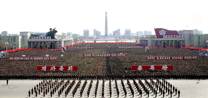 This photo taken and released by North Korea's official Korean Central News Agency (KCNA) on March 29, 2013 shows a gathering at Kim Il Sung Square in Pyongyang. (AFP Photo / KNS)