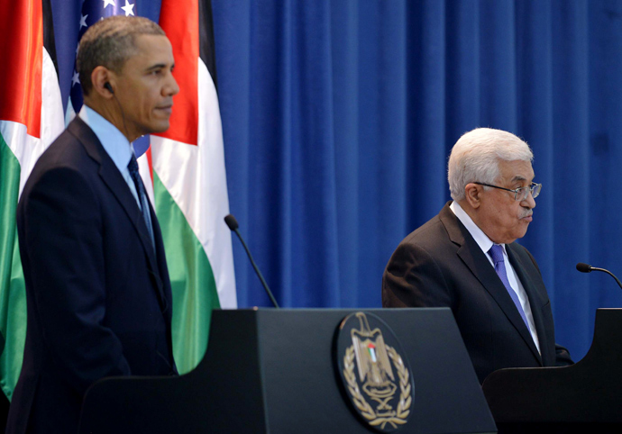Palestinian president Mahmud Abbas (R) and US President Barack Obama give a joint press conference following meetings at the Muqata, the Palestinian Authority headquarters, in the West Bank city of Ramallah on March 21, 2013 (AFP Photo / Mandel Ngan)
