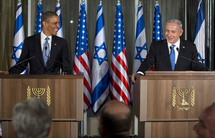 Israeli Prime Minister Benjamin Netanyahu (R) and US President Barack Obama hold a joint press conference at the Prime Minister's Residence in Jerusalem, on March 20, 2013, on the first day of Obama's three day trip to Israel and the Palestinian Territories. (AFP Photo)