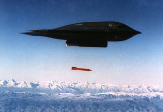 A B-2A bomber releases a test version of the new B61-11 gravity bomb over the Tonopah Test Range in Nevada, November 20, 1996