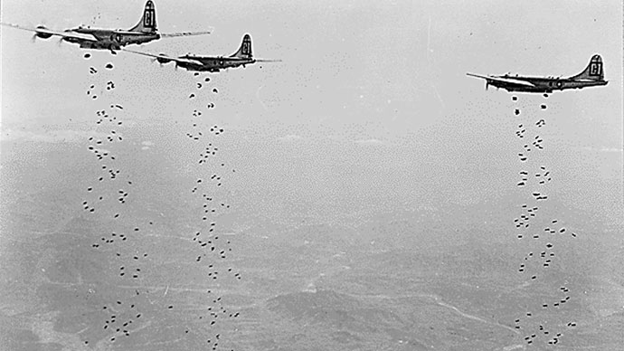 "This January 1951 photo shows B-29 ""Superfortress"" bombers dropping bombs on a strategic military target in North Korea.(AFP Photo)"
