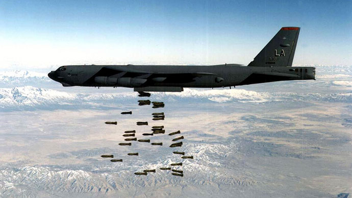 B-52H bomber dropping a load of M117 750lb bombs at an undisclosed location.(AFP Photo / USAF)