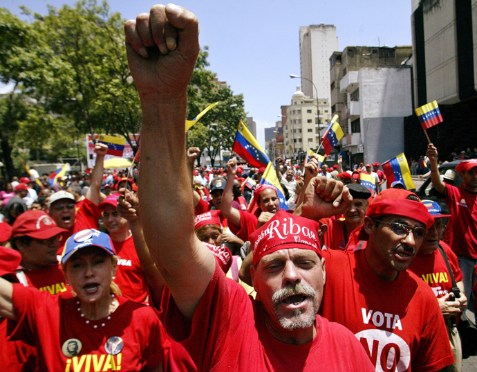 Supporters of Venezuelan president Hugo Chavez protest in Caracas for the US to extradite a Cuban exile on May 22, 2005 (Reuters)