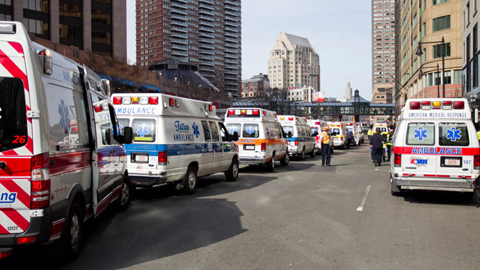 Ambulances line the street after explosions reportedly interrupted the running of the 117th Boston Marathon in Boston, Massachusetts April 15, 2013 (Reuters / Dominick Reuter)