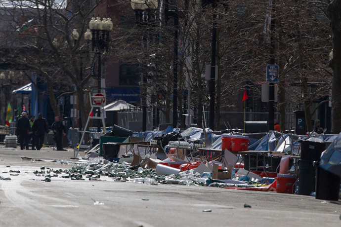 The scene of multiple explosions near the end of the Boston Marathon finish line in Boston, Massachusetts April 15, 2013 (Reuters / Scott Eisen)
