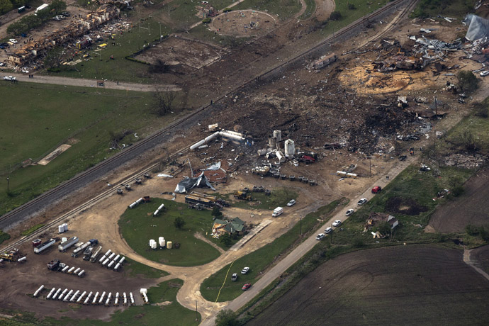 An aerial view shows the aftermath of a massive explosion at a fertilizer plant in the town of West, near Waco, Texas April 18, 2013. (Reuters)