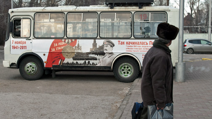 A bus with Stalin's portrait on Tomsk streets. (RIA Novosti)