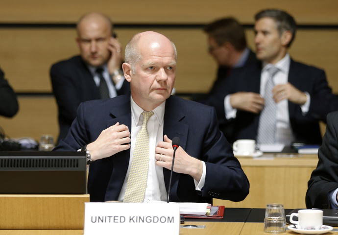 Britain's Foreign Secretary William Hague waits for the start of an European Union foreign ministers meeting in Luxembourg April 22, 2013. (Reuters / Francois Lenoir)