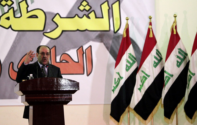 Iraqi Prime Minister Nuri al-Maliki gives a speech at an Iraqi police unit in Baghdad on January 9, 2013, during celebrations to mark the 91st anniversary of the founding of the country's police. (AFP Photo)