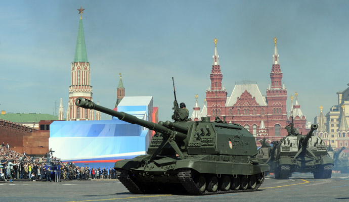 A column of Russia's Msta-S self-propelled howitzers rolls at the Red Square in Moscow, on May 9, 2013, during Victory Day parade. (AFP Photo)