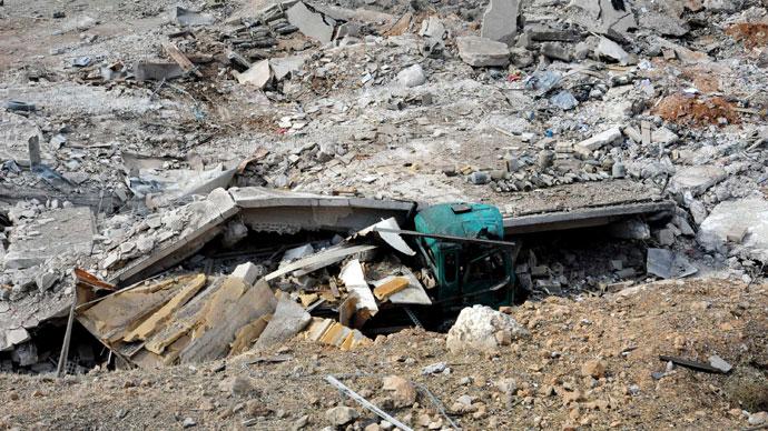 """De skador som en israelisk attack """"enligt SANA. Israel genomfört en före gryningen flygan nära Damaskus den 5 maj, med inriktning iranska missiler avsedda för Libanons Hizbollah i den andra en sådan räd mot Syrien på tre dagar, sade en högt uppsatt israelisk källa . (AFP Photo / SANA)"""