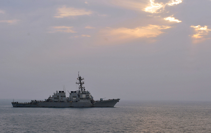 US guided-missile destroyer USS Porter following a collision with the Japanese-owned bulk oil tanker M/V Otowasan in the Strait of Hormuz (AFP Photo)