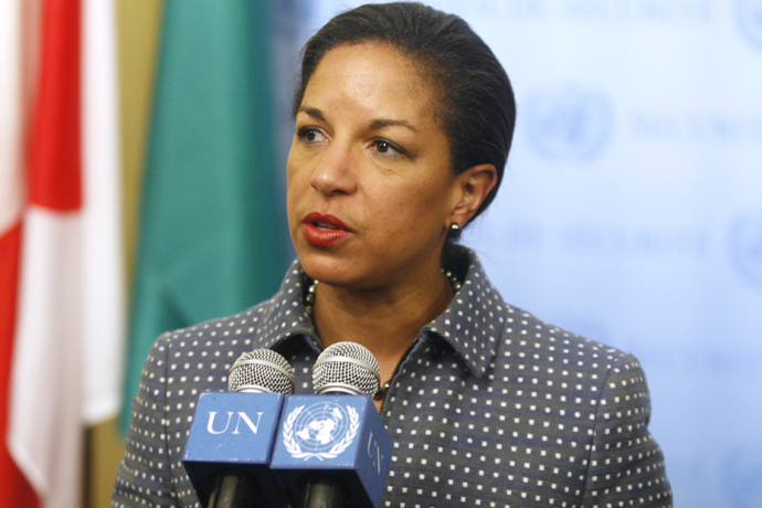 Susan Rice, United States Ambassador to the United Nations, speaks to the media during a U.N. Security Council consultation on the latest development in North Korea April 5, 2009 at United Nations headquarters in New York City (Daniel Barry / Getty Images / AFP)