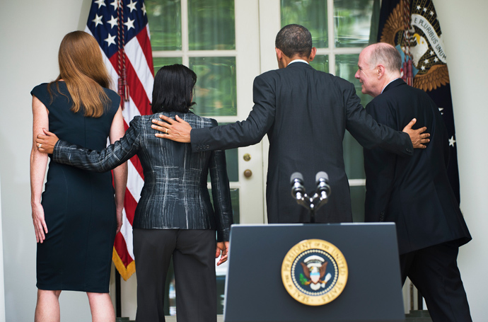 US President Barack Obama (2nd R) walks away with newly appointed National Security Advisor Susan Rice (2nd L), outgoing National Security Advisor Tom Donilon (R) and Obama's nominee for US Ambassador to the United Nations former aide Samantha Power (L) after an event in the Rose Garden at the White House in Washington, DC, June 5, 2013 (AFP Photo / Jim Watson)