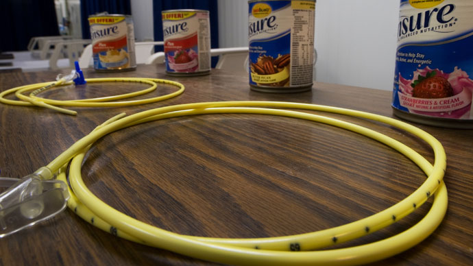 In this photo reviewed by US military officials, two feeding tubes and cans of Ensure with flavors such as Butter Pecan and Strawberries & Cream are seen inside the detainee hospital inside Camp Delta, part of the US Detention Center at Guantanamo Bay, Cuba.(AFP Photo / Paul J. Richards)