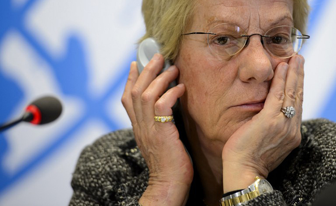 Former United Nations (UN) prosecutor and member of a UN-mandated commission of inquiry on the Syria conflict, Swiss' Carla del Ponte. (AFP Photo / Fabrice Coffrini)