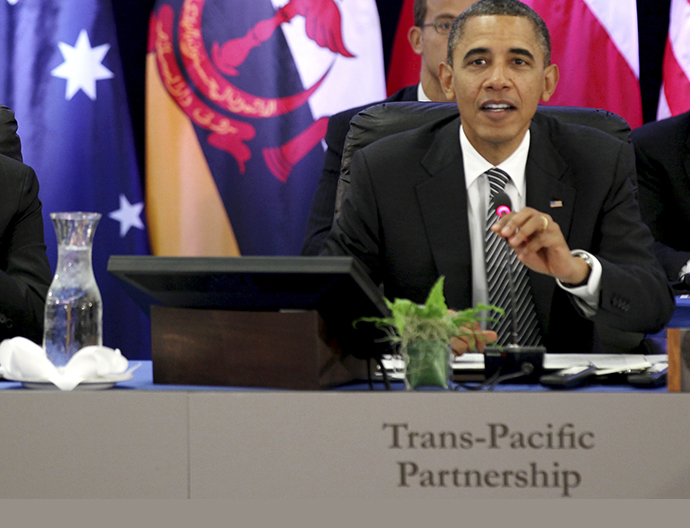 U.S. President Barack Obama speaks during the Trans-Pacific Partnership Leaders meeting at the Hale Koa Hotel during the APEC Summit in Honolulu, Hawaii, November 12, 2011. (Reuters / Larry Downing)