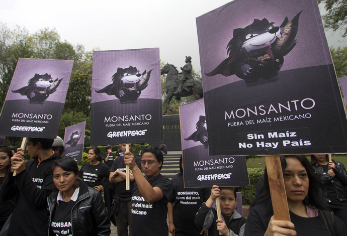 "Activists of the global environmental watchdog Greenpeace demonstrate against US biotech giant Monsanto and the commercial sowing of transgenic corn, at ""Parque de los Venados"" in Mexico City (AFP Photo)"