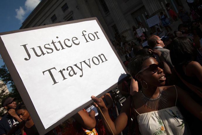 Protesters rally in response to the acquittal of George Zimmerman in the Trayvon Martin trial (Reuters / Keith Bedford)