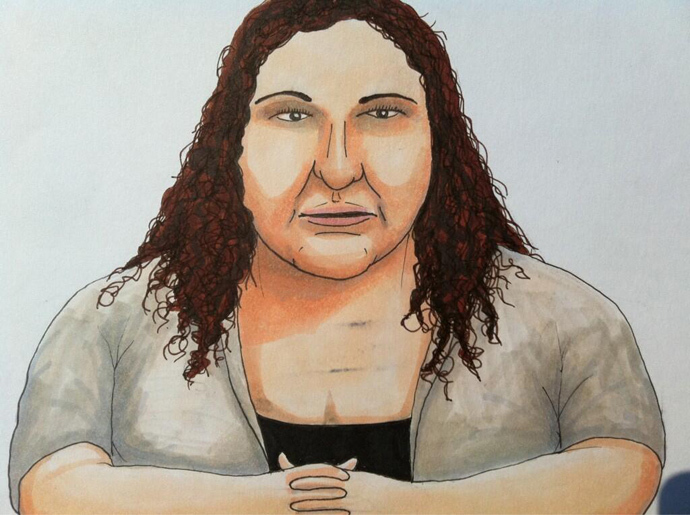 Jihrleah Showman on the stand at the Manning trial. Graphic by Clark Stoeckley, @WikileaksTruck