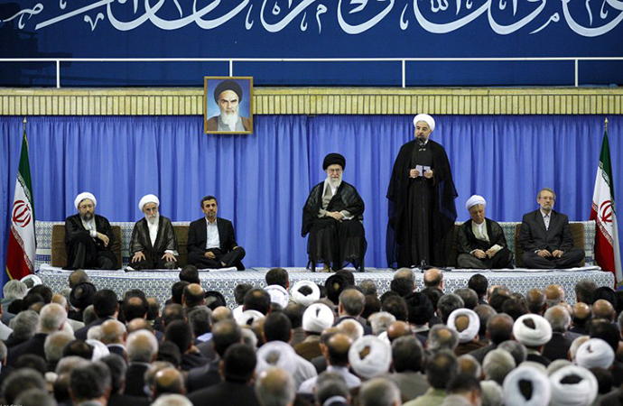 Newly elected President moderate cleric Hassan Rowhani giving a speech during his endorsment ceremony in the capital Tehran (AFP Photo / khamenei.ir)