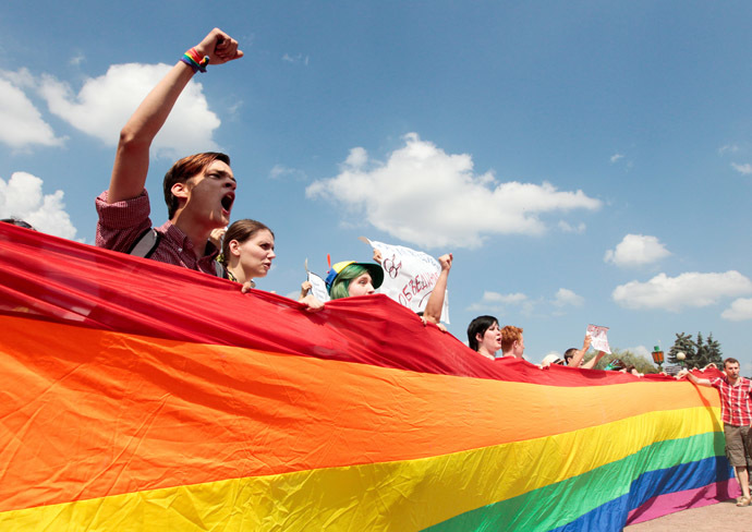 Participants in the LGBT community suport rally on the Champ de Mars in St. Petersburg. (RIA Novosti/Anatoly Medved)