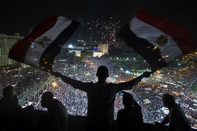 Supporters of Egyptian Armed Forces General Ahmed Fattah al-Sisi rally at Tahrir Square in Cairo on July 26, 2013. (AFP Photo)
