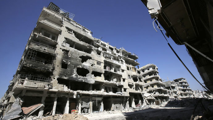 A devastated street in the Khalidiyah district of Syria's central city of Homs. (AFP Photo / Joseph Eid)