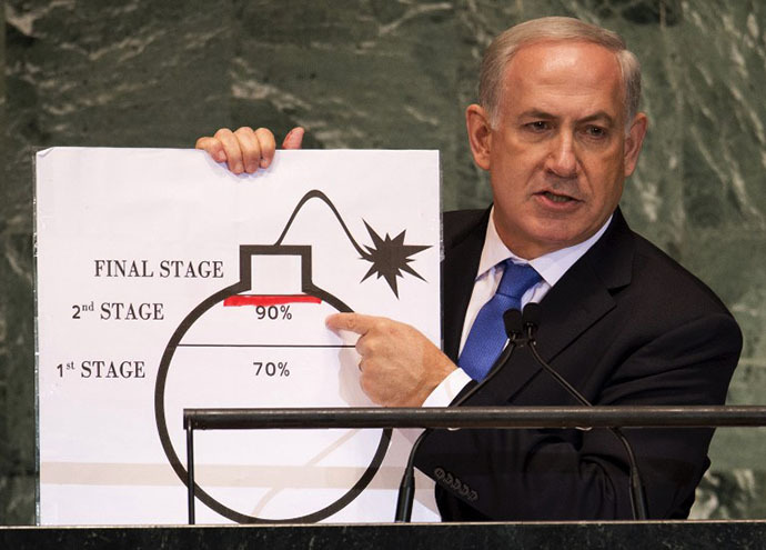 Benjamin Netanyahu, Prime Minister of Israel, uses a diagram of a bomb to describe Iran's nuclear program while delivering his address to the 67th United Nations General Assembly meeting September 27, 2012 at the United Nations in New York. (AFP Photo / Don Emmert)