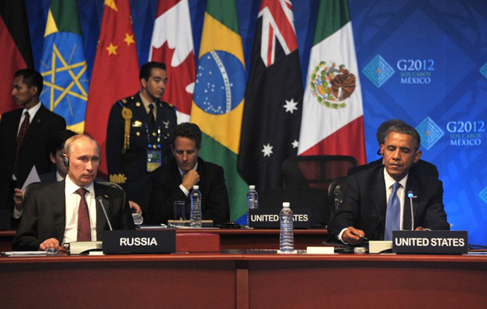 US President Barack Obama and his Russian counterpart Vladimir Putin (L) attend the G20 leaders Summit in Los Cabos, Mexico, on June 19, 2012. (AFP Photo / Alexei Nikolskiy)