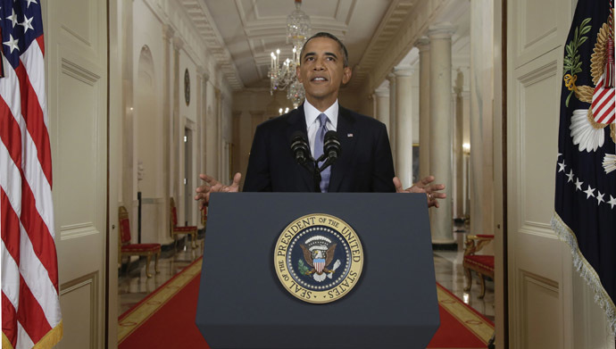 US President Barack Obama addresses the nation in a live televised speech from the East Room of the White House in Washington, Tuesday, September 10, 2013. (AFP Photo/Pool/Evan Vucci)