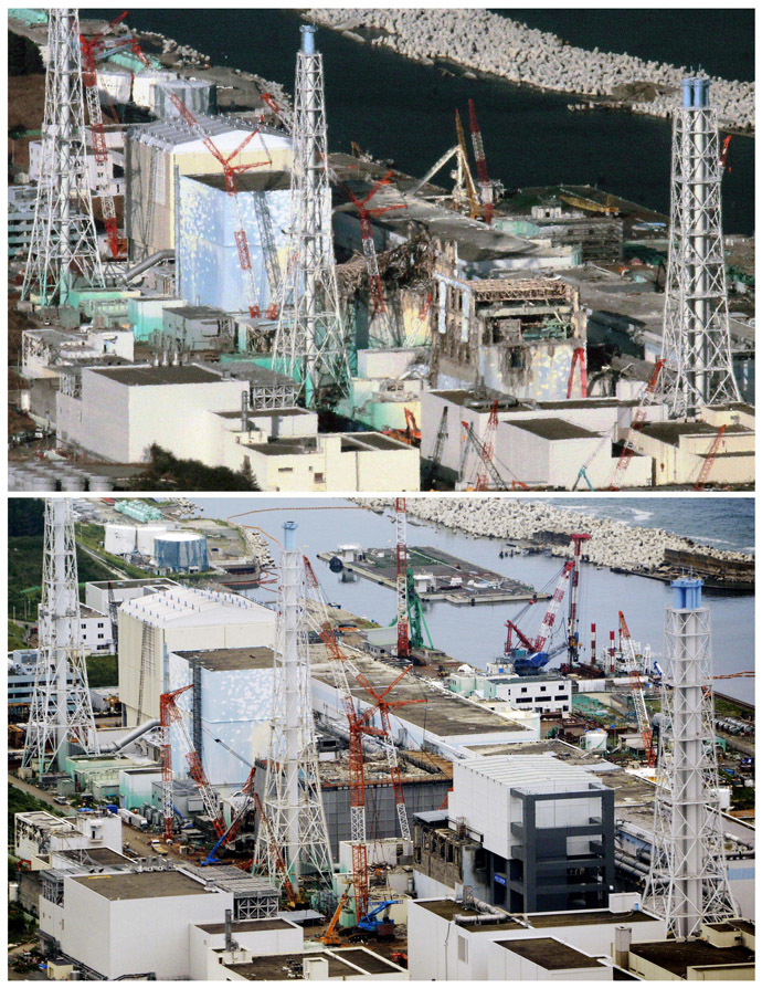 "Tokyo Electric Power Company's (TEPCO) tsunami-crippled Fukushima Daiichi nuclear power plant in Fukushima prefecture is pictured in this combination photo taken December 15, 2011 (top), and September 6, 2013, released by Kyodo on September 7, 2013, ahead of the two-and-a-half-year anniversary of the March 11 earthquake and tsunami. Would-be 2020 Olympic cities of Madrid, Istanbul and Tokyo parade before the Games' organising body on September 7, 2013 in a ""least ugly"" contest as they attempt to conceal their blemishes and win the right to host the world's biggest sporting extravaganza. (Reuters/Kyodo)"