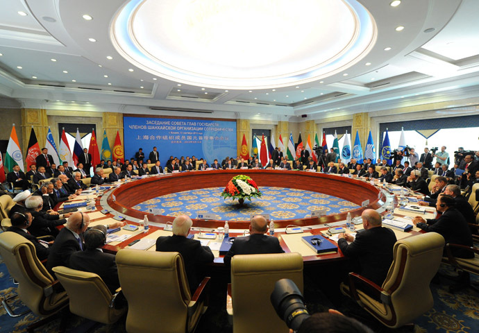 Russian President Vladimir Putin, back center, at an extended meeting of the Council of Heads of State of the Shanghai Cooperation Organisation (SCO) in Bishkek. (RIA Novosti/Michael Klimentyev)