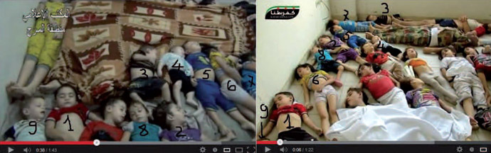 """At least 9 children in the video of the Press Office of Al Marj Region (right) have been transported from Kafarbatna (left) """"out of any medical or humanitarian explanation"""", the report claims. Photo from Mother Agnes report to UN."""