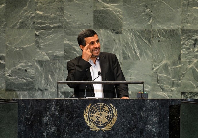 Mahmoud Ahmadinejad, President of Iran, speaks during the 67th session of the United Nations General Assembly September 26, 2012 at UN headquarters in New York. (AFP Photo/Stan Honda)