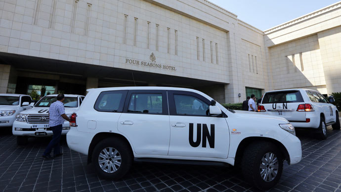 The UN chemical weapons investigation team arrives in Damascus.( AFP Photo / Louai Beshara)