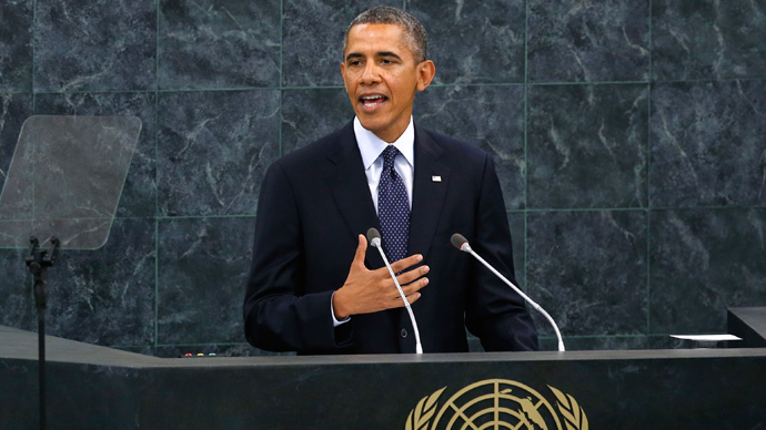 U.S. President Barack Obama addresses the 68th United Nations General Assembly at UN headquarters in New York, September 24, 2013 (Reuters / Mike Segar)