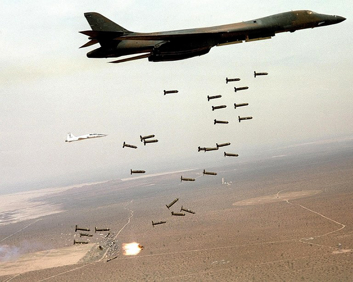 This file photo shows a B-1B Lancer dropping cluster bombs during a live fire exercise. (AFP Photo / USAF)