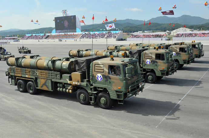 The Hyeonmu 3, an indigenously developed South Korean cruise missile capable of a surgical strike on North Korea (AFP Photo / Jung Yeon-Je)