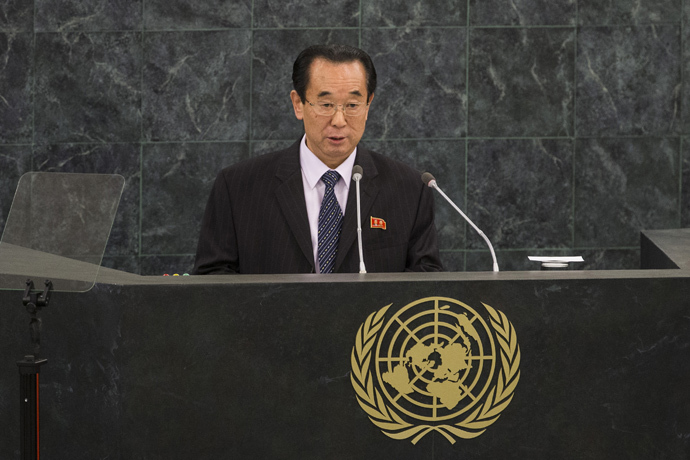 Pak Kil Yon, Vice Minister for Foreign Affairs for North Korea, speaks at the 68th United Nations General Assembly on October 1, 2013 in New York City (Andrew Burton / Getty Images / AFP)