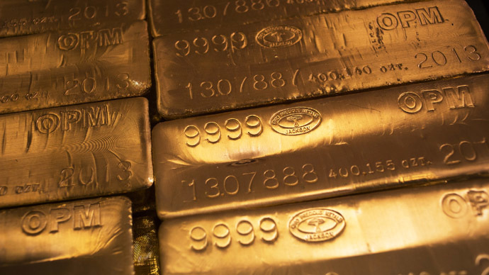 24 karat gold bars are seen at the United States West Point Mint facility in West Point, New York June 5, 2013. (Reuters/Shannon Stapleton)