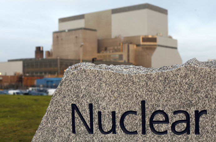 A sign is seen outside Hinkley Point B Power Station in Bridgwater, southwest England in this file photograph dated December 13, 2012. (Reuters/Suzanne Plunkett/Files)