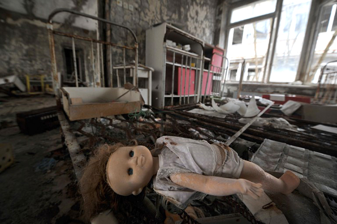 A plastic doll is pictured at a kindergarden in the ghost town of Pripyat April 4, 2011. (AFP Photo / Sergei Supinsky)