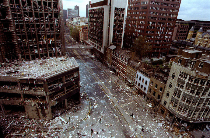 The bomb damaged blast area of the City of London after two bomb blasts ripped through the City of London April 24, 1993. (Reuters/Andre Camara AC)