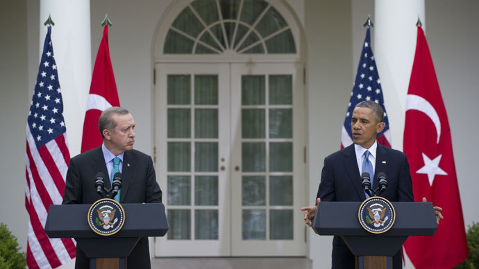 US President Barack Obama and Turkish Prime Minister Recep Erdogan hold a joint press conference in the Rose Garden of the White House in Washington, DC, May 16, 2013. AFP PHOTO / Saul LOEB