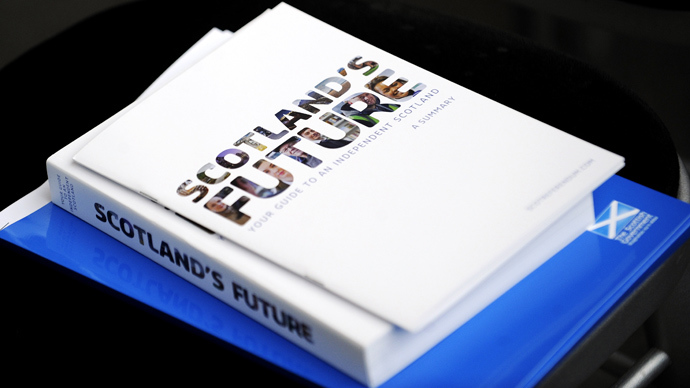"""A picture shows Scotland's independence plan during a press conference to launch the regional government's long-awaited """"white paper"""" ahead of next year's historic independence referendum, at Glasgow Science Centre in Glasgow, Scotland, on November 26, 2013 (AFP Photo / Andy Buchanan)"""