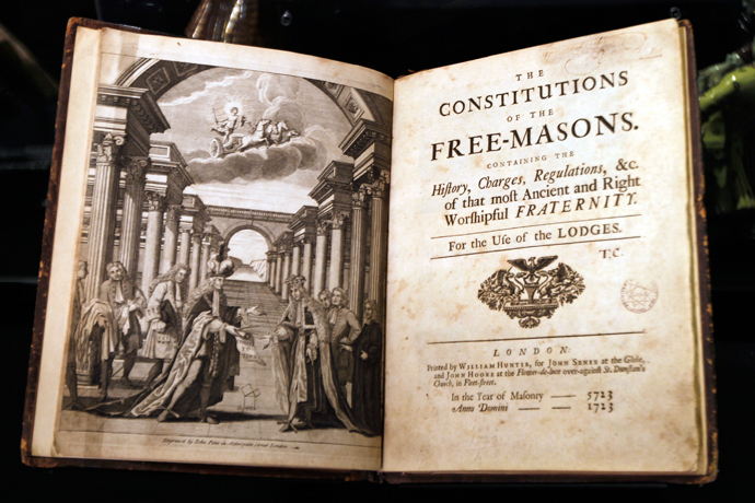 The Freemason book of reference is displayed in the Museum of Freemasonry in Paris February 9, 2010, two days before it reopens to the public. (Reuters / Charles Platiau)