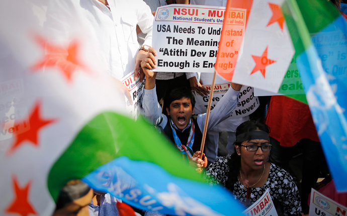 Members of the National Students Union of India (NSUI), the student wing of India's ruling Congress party, shout slogans during a protest in front of the U.S consulate in Mumbai December 20, 2013. (Reuters / Danish Siddiqui)